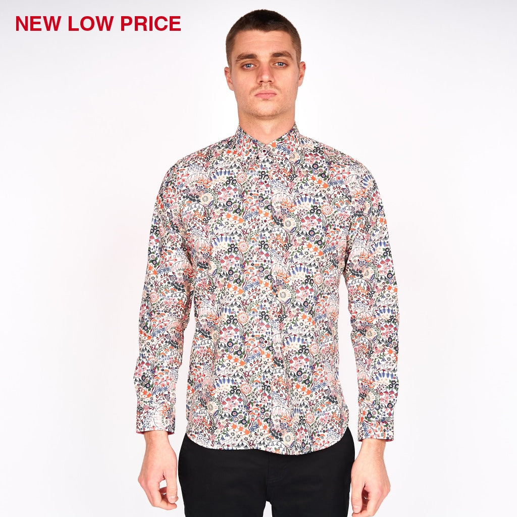 Mens Long Sleeve Woven Shirt Gabicci Maddox St London - M43MW01 Lava