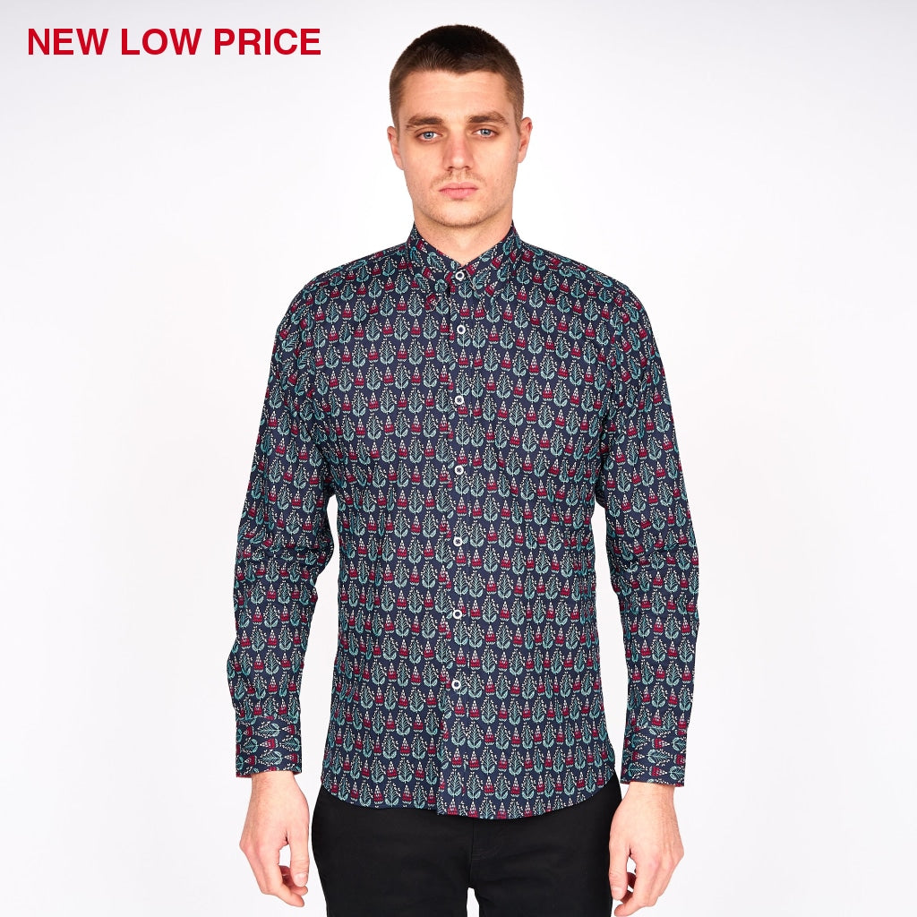 Mens Long Sleeve Woven Shirt Gabicci Maddox St London - M43MW05 Navy