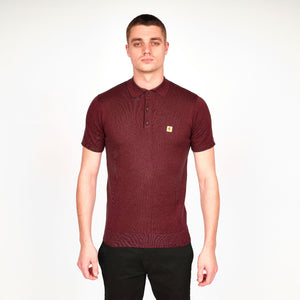 Mens Plain Short Sleeve Knitted Three Button Polo Top Gabicci Vintage - V45GK04 Oxblood
