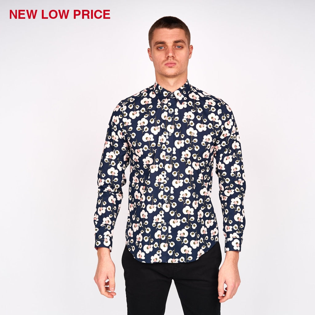 Mens Long Sleeve Woven Shirt Gabicci Vintage - V43GW01 Navy