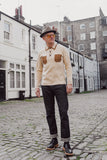 Mens Gregory Isaacs Polo Collar Sweater Gabicci Vintage - V44GIM01 Oatmeal