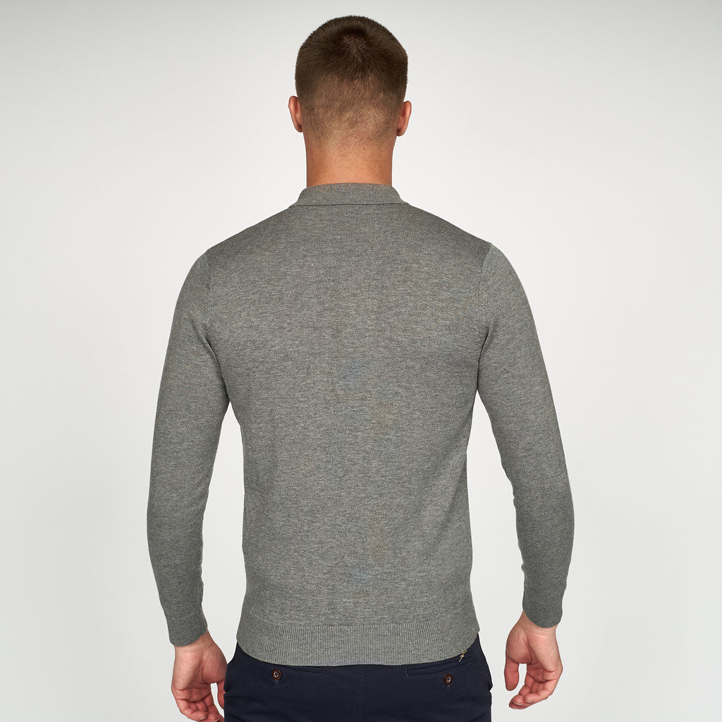 Mens Polo Collar Sweater Gabicci Vintage  - V44GK08 Grey