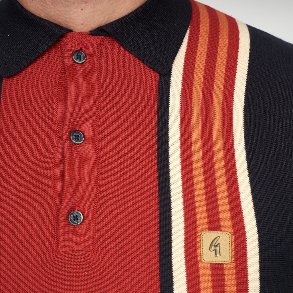 Mens Polo Collar Sweater Gabicci Vintage  - V44GM04 Navy