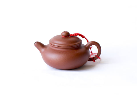 Yixing Clay Teapot, 3oz Small-Flat (Red Clay)