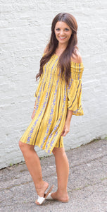 Boho Babe Mustard Bell Sleeve Dress