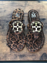 Load image into Gallery viewer, Faux Gold Metal Emblem Cheetah Sandals