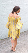 Load image into Gallery viewer, Boho Babe Mustard Bell Sleeve Dress