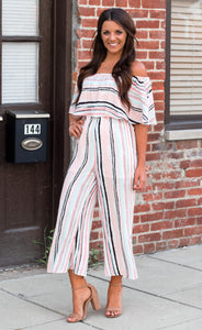 Pretty In Pink Off The Shoulder Jumpsuit