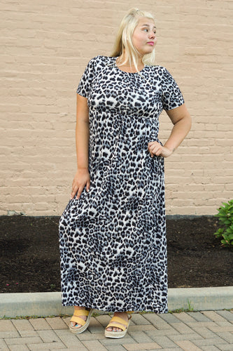 Black and Grey Leopard Maxi