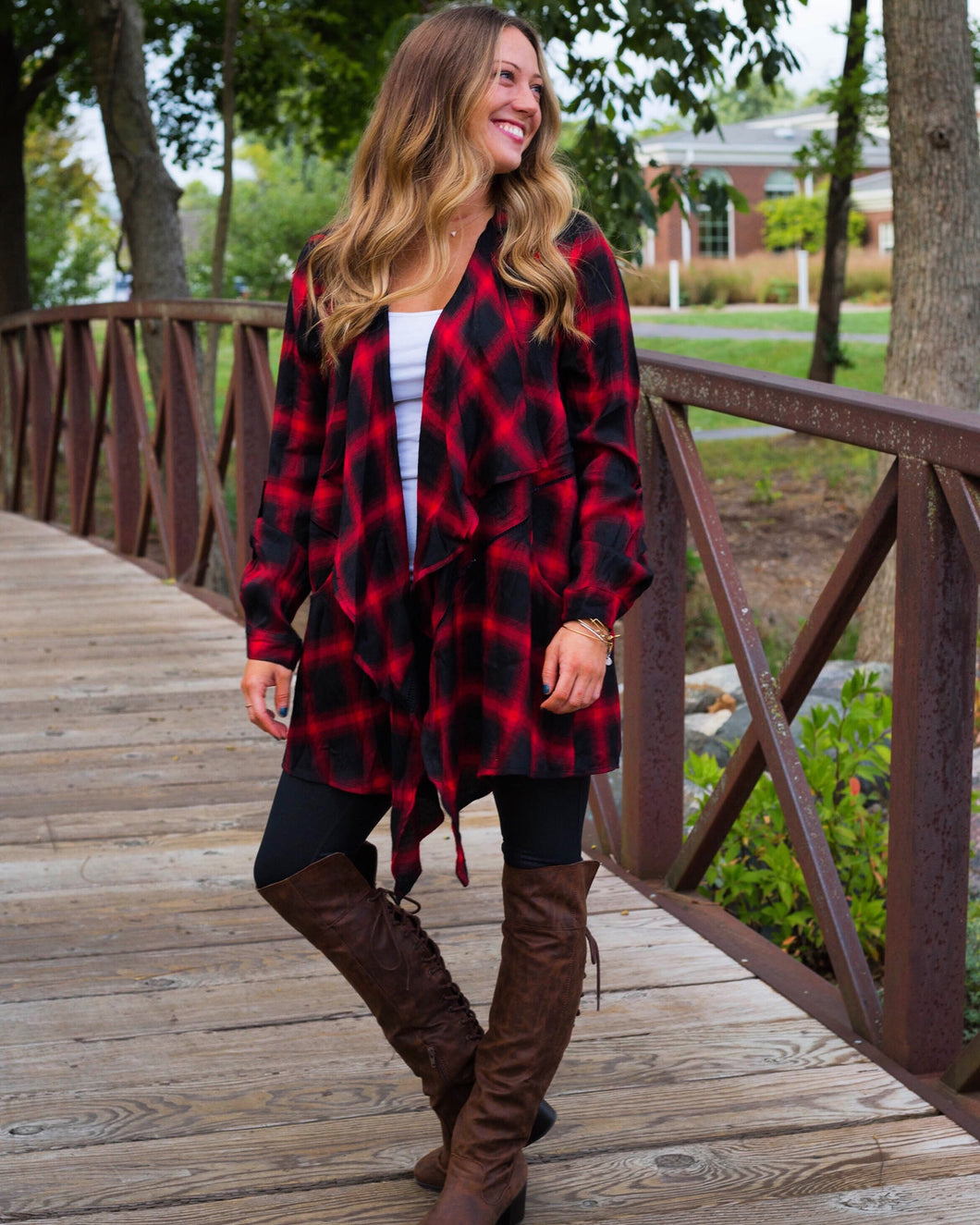 Little Red Buffalo Plaid Cardigan