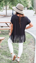 Load image into Gallery viewer, Almost Famous Black Fringe Tee