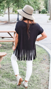 Almost Famous Black Fringe Tee