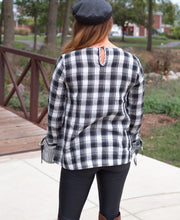 Load image into Gallery viewer, Plaid Tie Sleeve Top