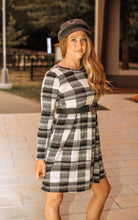Load image into Gallery viewer, Falling For You Black Buffalo Plaid Dress