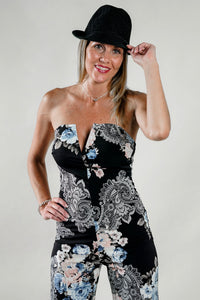 Paisley V Cut Strapless Wide Leg Jumpsuit