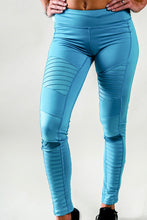 Load image into Gallery viewer, Neon Blue Athletic Moto Leggings