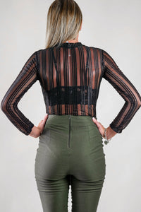 Black Stripes Sheer Bodysuit