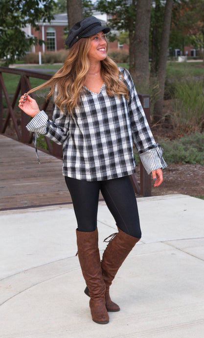 Plaid Tie Sleeve Top