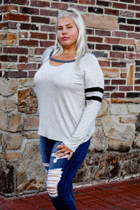 Striped Long Sleeve Scoop Neck Tee (Curve)