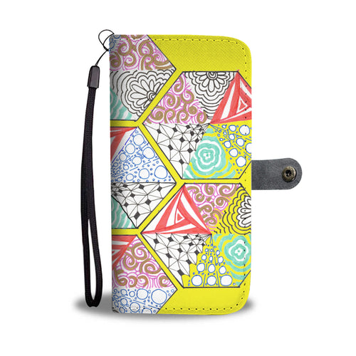 Mozaic Yellow folding phone wallet