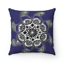 Load image into Gallery viewer, Akruti Artz 8-Petal Flower Navy Blue Spun Polyester Square Pillow