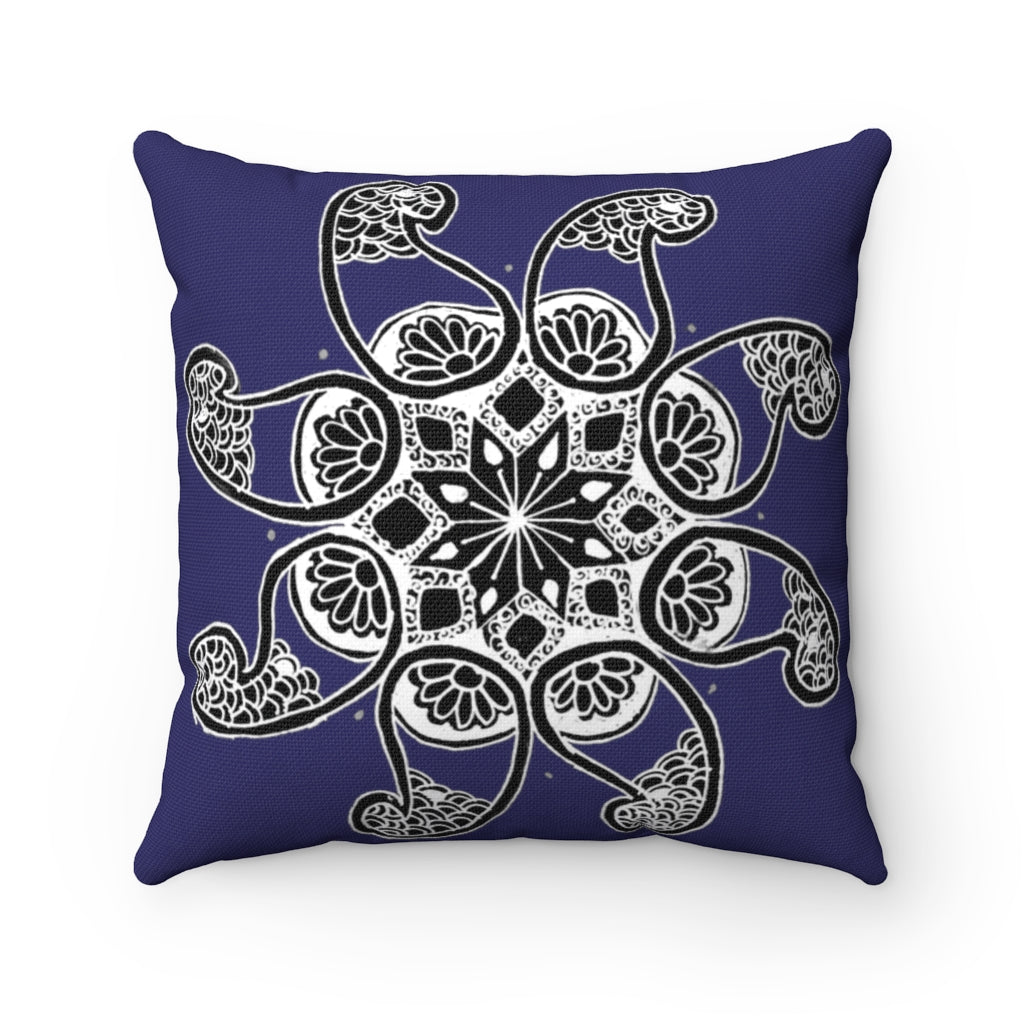 Akruti Artz 8-Petal Flower Navy Blue Spun Polyester Square Pillow