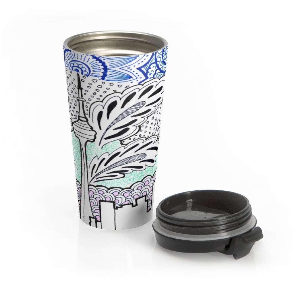 Akruti Artz Cityscape Stainless Steel Travel Mug