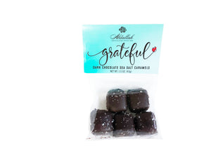 Our Marilyn's Gift Valentine Box has Abdallah Dark Chocolate Sea Salt Caramels in it.  With the name Grateful, you can express how thankful you are for your valentine.