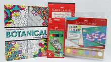 Load image into Gallery viewer, Marilyn's Gift Creative Box is sure to bring out their inner artist.  This box includes drawing, coloring and painting products which will help reduce their anxiety, depression and help keep their mind sharp.  The Creative Box includes Faber-Castell products: a paint by number set, coloring pencils and a doodle pad.  There is also a coloring book if they want to color in the lines.