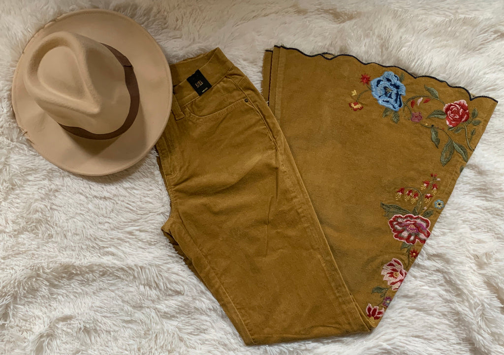 Embroidered Mustard Flares