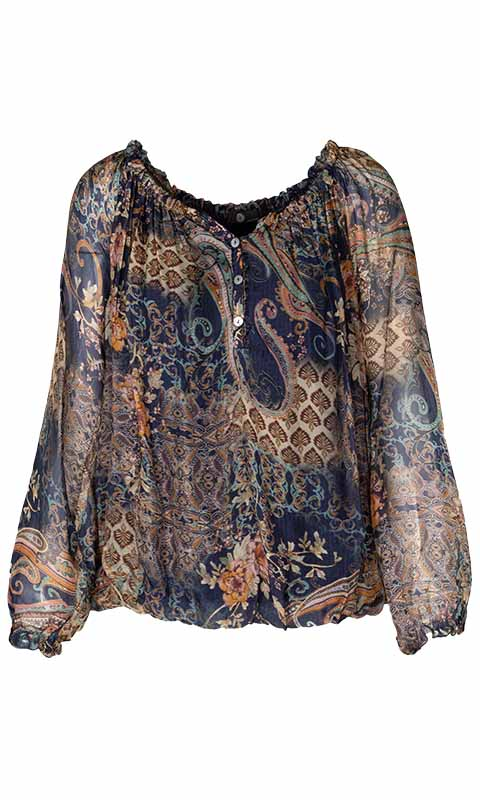 WOVEN LONG SLEEVE TOP