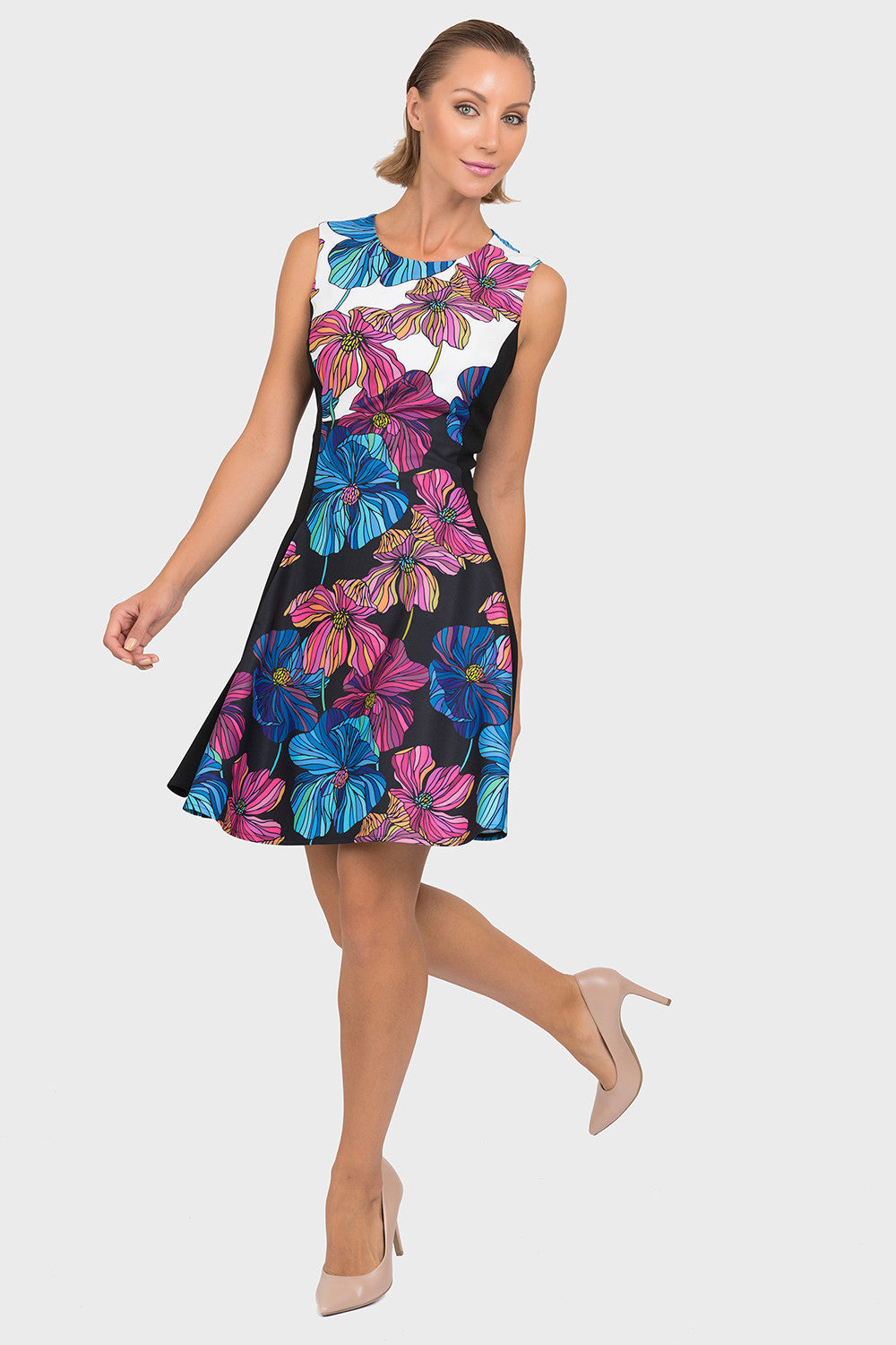 FLORAL FIT & FLARE DRESS 192668