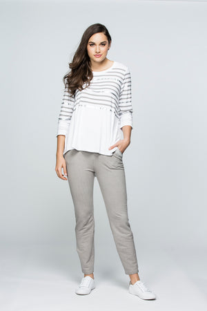 EMBROIDERED COTTON LOUNGE POCKET PANT 33769