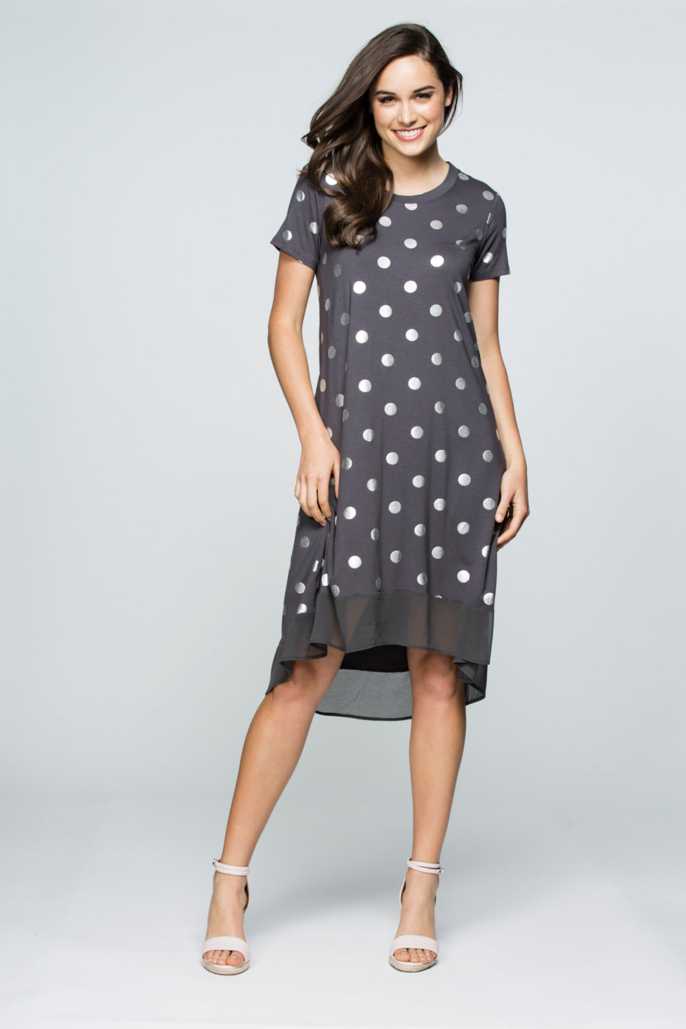 SPLICED HEM SPOT DRESS 33708