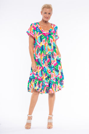 ABSTRACT PRINT DRESS CLM238