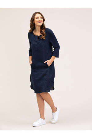 LINEN SPLICED DRESS YT20S9106