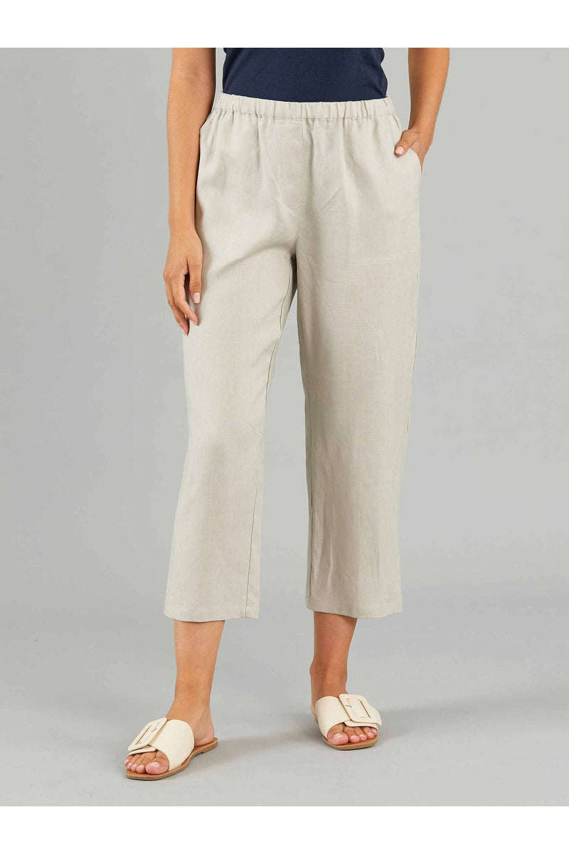 WASHER LINEN CROPPED PANTS