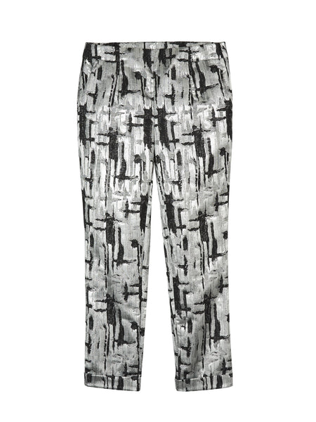 METALLIC JACQUARD FITTED TROUSER