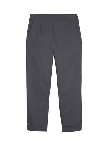 GREY TWILL FITTED TROUSERS