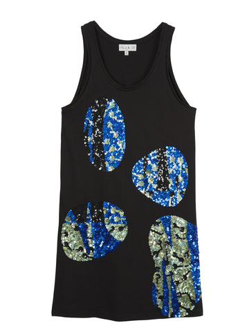 SEQUINNED CACTUS JERSEY VEST DRESS