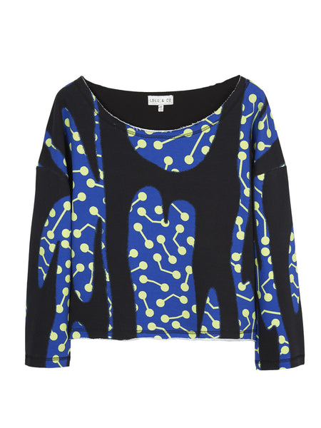 CACTUS PRINT OVERSIZE DROP SHOULDER SWEATSHIRT
