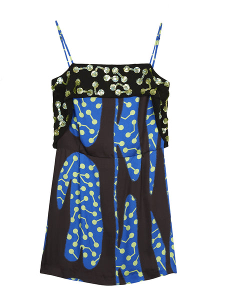 SEQUINNED CACTUS PRINT SLIP DRESS