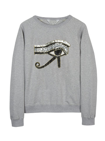 EYE OF RA SEQUIN MOTIF SWEATSHIRT