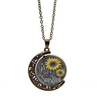 YOU ARE MY SUNSHINE MOON NECKLACE (Bronze/Silver options)