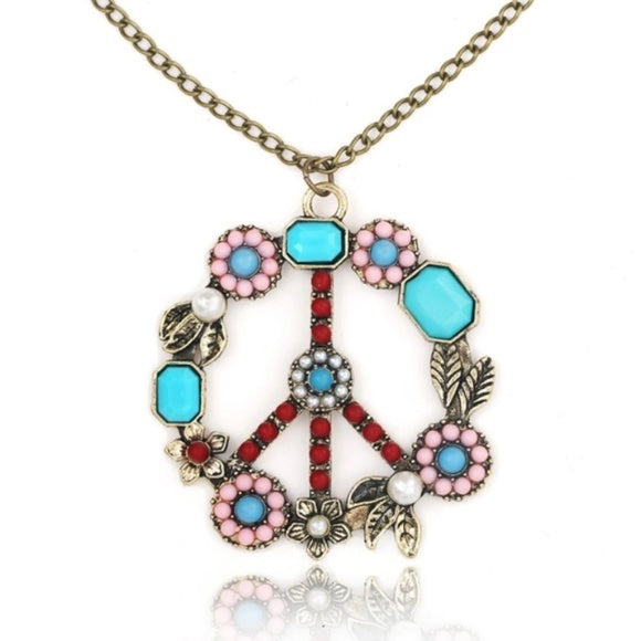 Peace Long Pendant Necklace
