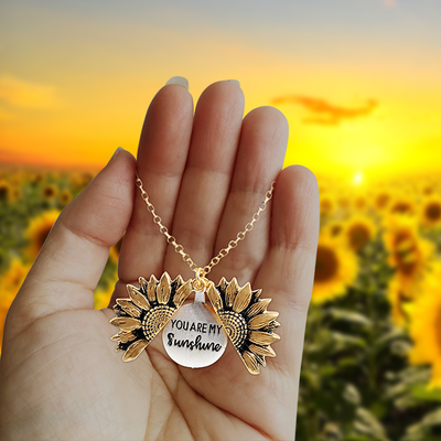 You Are My Sunshine Sunflower Necklace (Gold/Silver Options)