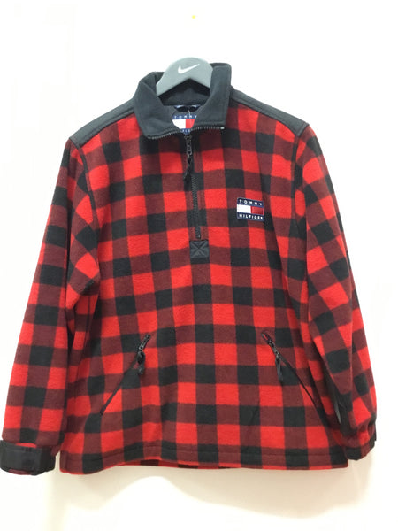 Tommy Hilfiger Red & Black Plaid 1/4 Zip Pullover Jacket