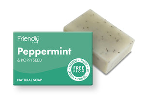 Friendly Soap: Peppermint and Poppy Seed Soap Bar 95g