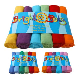 Bright Bots 6 Pack Coloured Muslin Squares – 70x70cm