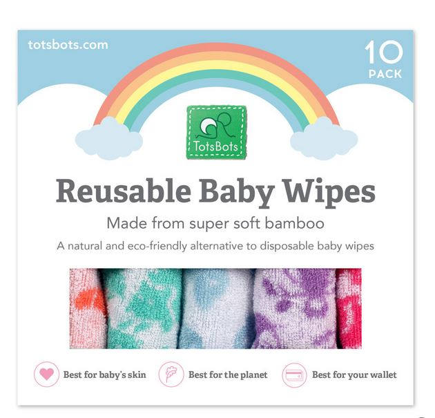 TotsBots washable baby wipes x 10